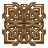 Elemento dorato classico della decorazione su fondo bianco isolato Immagini Stock