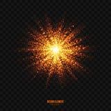 Elemento dorato d'ardore di progettazione di effetto di esplosione delle particelle di vettore Immagini Stock