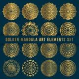 Elemento dorato dettagliato dell'insieme di arte della mandala Arte d'annata della mandala con l'ornamento astratto floreale arro fotografie stock libere da diritti