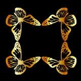Elemento dorato di progettazione della farfalla Fotografie Stock Libere da Diritti