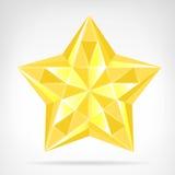 Elemento dorato di web della stella del diamante isolato Fotografia Stock