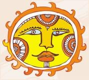 Elemento etnico di disegno di Sun. Fotografie Stock Libere da Diritti