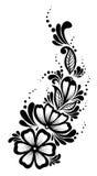 Elemento floral bonito. Flores preto e branco  Foto de Stock Royalty Free