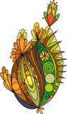 Elemento floral coloreado en colores del otoño Stock de ilustración