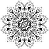 Elemento floral da hena de Mehndi para a mandala do tatoo no estilo indiano Fotos de Stock Royalty Free