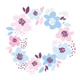Elemento floral decorativo da cor azul e rosado Fotografia de Stock Royalty Free
