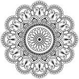 Elemento floreale del hennè di Mehndi per la mandala di tatoo nello stile indiano Fotografie Stock