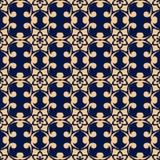 Elemento floreale dorato su fondo blu scuro Reticolo senza giunte Fotografia Stock Libera da Diritti