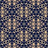 Elemento floreale dorato su fondo blu scuro Reticolo senza giunte Immagine Stock Libera da Diritti