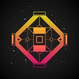 Elemento futurista do projeto no estilo 80s com inclinação colorido Fotografia de Stock