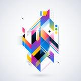 Elemento geométrico abstrato com inclinações coloridos e luzes de incandescência Projeto futurista incorporado, útil para apresen Imagens de Stock