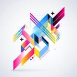Elemento geométrico abstrato com inclinações coloridos e luzes de incandescência Projeto futurista incorporado, útil para apresen Fotos de Stock Royalty Free
