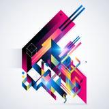 Elemento geométrico abstrato com inclinações coloridos e luzes de incandescência Projeto futurista incorporado, útil para apresen Imagem de Stock Royalty Free