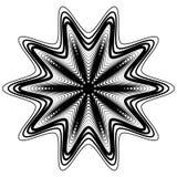 Elemento geométrico abstrato com linhas irregulares Distorte radial ilustração stock