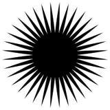 Elemento geometrico circolare dei raggi radiali, linee Bla astratto illustrazione di stock