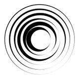 Elemento geometrico dei cerchi concentrici Parte radiale, irradiante circolare Fotografie Stock Libere da Diritti