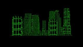 elemento gráfico del movimiento de Loopable de la ciudad del holograma de Tron del verde 3D libre illustration