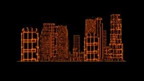 elemento gráfico del movimiento loopable de la ciudad del holograma del tron del oro 3D stock de ilustración