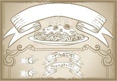 Elemento gráfico del vintage para el primer menú del curso Imágenes de archivo libres de regalías