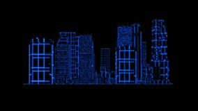 elemento gráfico Tron del holograma de 3D de la ciudad del movimiento azul de Loopable ilustración del vector