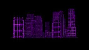 elemento gráfico Tron del holograma de 3D de la ciudad del movimiento púrpura de Loopable stock de ilustración