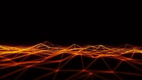elemento grafico del wireframe 3D del paesaggio arancio di griglia loopable illustrazione di stock