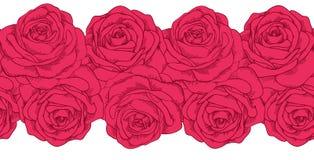 Elemento horizontal inconsútil del marco de rosas ilustración del vector