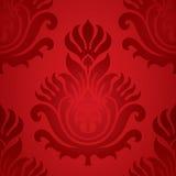 Elemento inconsútil del rojo del damasco Imágenes de archivo libres de regalías