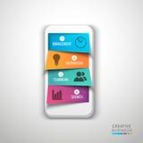 Elemento infographic creativo con lo smartphone Fotografie Stock Libere da Diritti