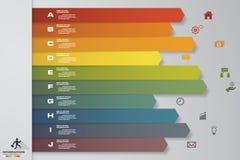 elemento infographic de la cronología de 10 pasos 10 pasos infographic, bandera del vector se pueden utilizar para la disposición Imagen de archivo libre de regalías