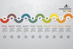 elemento infographic de la cronología de 10 pasos 10 pasos infographic, bandera del vector se pueden utilizar para la disposición Foto de archivo libre de regalías