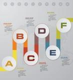 elemento infographic de la cronología de 6 pasos 6 pasos infographic, Imagen de archivo libre de regalías
