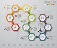 elemento infographic de la cronología de 10 pasos 10 pasos infographic, bandera del vector se pueden utilizar para la disposición Imagenes de archivo
