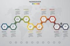 elemento infographic de la cronología de 10 pasos 10 pasos infographic, bandera del vector se pueden utilizar para la disposición Foto de archivo