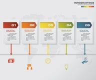 elemento infographic de la cronología de 5 pasos 5 pasos infographic EPS 10 Fotos de archivo libres de regalías