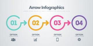 Elemento infographic di affari di vettore Cronologia con 4 cerchi, punti, opzioni di numero royalty illustrazione gratis