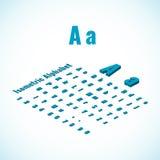 Elemento isométrico do alfabeto e da fonte, o pequeno e o grande de letras do projeto Foto de Stock