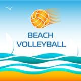 Elemento luminoso di progettazione di vettore di beach volley Immagini Stock