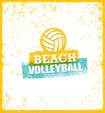Elemento luminoso di progettazione di vettore di beach volley sul fondo di lerciume Fotografia Stock Libera da Diritti