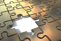 Elemento mancante del puzzle dell'oro Fotografie Stock Libere da Diritti