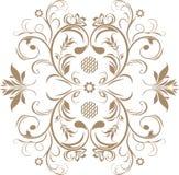 Elemento marrone ornamentale isolato sul bianco Fotografie Stock Libere da Diritti