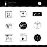 Elemento moderno do estilo do restaurante da barra do projeto do logotipo do vinhedo do vinho imagens de stock royalty free
