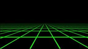 Elemento olográfico verde del gráfico del movimiento del piso de la rejilla de Tron stock de ilustración