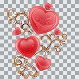 Elemento per il San Valentino con i fronzoli ed i cuori, isolato illustrazione di stock