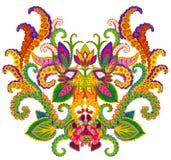 Elemento persa do tapete - botão de um Llily celestial Imagem de Stock Royalty Free
