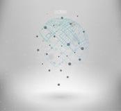 Elemento poligonal de la malla de Wireframe Forma abstracta con las líneas y los puntos conectados Imagen de archivo libre de regalías