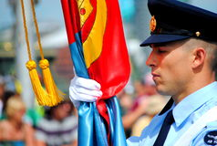 Elemento portante di bandierina dell'aeronautica alla parata di giorno dell'Australia Immagini Stock
