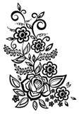 Elemento preto e branco do projeto das flores e das folhas Fotos de Stock Royalty Free