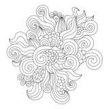 Elemento preto e branco tirado mão do zentangle ilustração royalty free