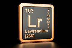 Elemento químico da LR do Lawrencium rendição 3d Ilustração Stock